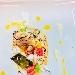 Fegatini al Campari, Gamberi al limone, Lardo di colonnato caramellato, Insalatina di lamponi e mirtilli e Salsa all'arancia - - - Fotografia inserita il giorno 14-06-2018 alle ore 21:13:44 da luigisorrentino