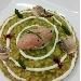 Risotto carnaroli, asparagi, maionese di calamaro, crudo di gamberi rossi e tartufi di mare