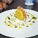Tortino di patate e baccalà.. gambero arancia e basilico