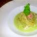Spaghetti scampi e zenzero con crema fredda di sedano al naturale