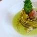 Ricetta inserita su spaghettitaliani.com da Emanuele Anastasio: Spaghetti scampi e zenzero con crema fredda di sedano al naturale