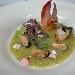 Molluschi e crostacei su crema di zucchine e arancia