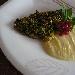 Ricetta inserita su spaghettitaliani.com da Pino Farina: Filetto di dentice con pistacchi di Bronte su passatine di ceci