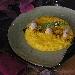 Ricetta inserita su spaghettitaliani.com da Pino Farina: Risotto allo zafferano con baccalà mantecato ed elisir di carrube