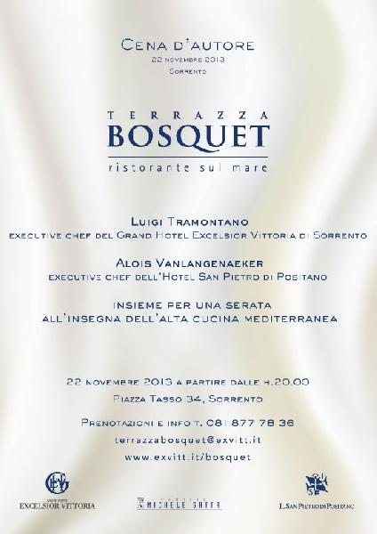 Evento: Il 22 novembre al ristorante Terrazza Bosquet di Sorrento ...
